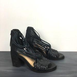 Anthro Baske woven leather block heel